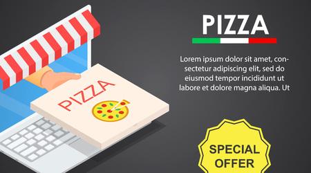 Web pizza offer banner horizontal, isometric style Ilustração Vetorial