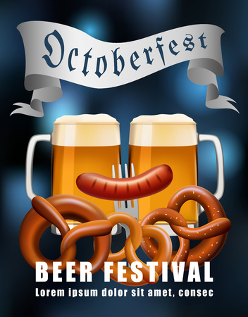 Beer festival concept background. Realistic illustration of beer festival vector concept background for web design