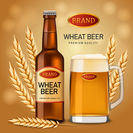 Wheat beer quality concept background. Realistic illustration of wheat beer quality vector concept background for web design