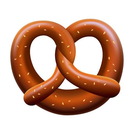 Fresh pretzel mockup. Realistic illustration of fresh pretzel vector mockup for web design isolated on white background