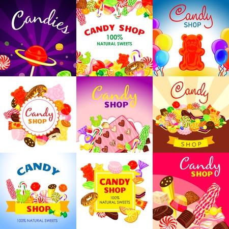 Conjunto de banner de caramelo dulce. Ilustración de dibujos animados de banner de vector de caramelo dulce para diseño web