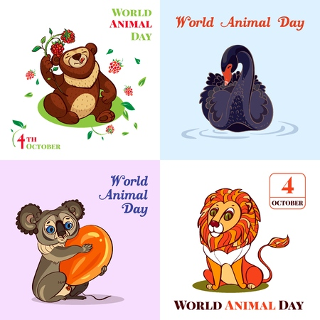 Conjunto de banners de octubre del día mundial de los animales, estilo de dibujos animados