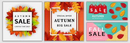 Autumn sale fall banner set, realistic style