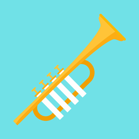 Gold trumpet icon. Flat illustration of gold trumpet vector icon for web design