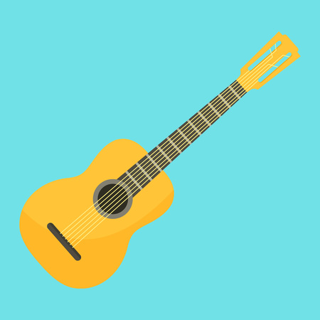 Acoustic guitar icon. Flat illustration of acoustic guitar vector icon for web design Illustration
