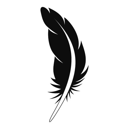 Tattoo feather icon. Simple illustration of tattoo feather vector icon for web design isolated on white background Çizim