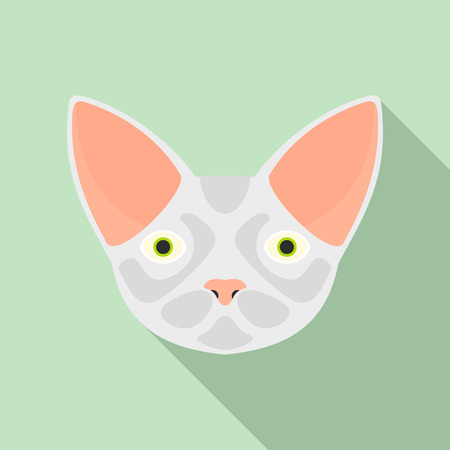 Cat head icon. Flat illustration of cat head vector icon for web design