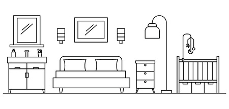 Bedroom concept background, outline style