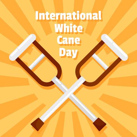 International white cane day concept background, flat style Imagens - 108080145