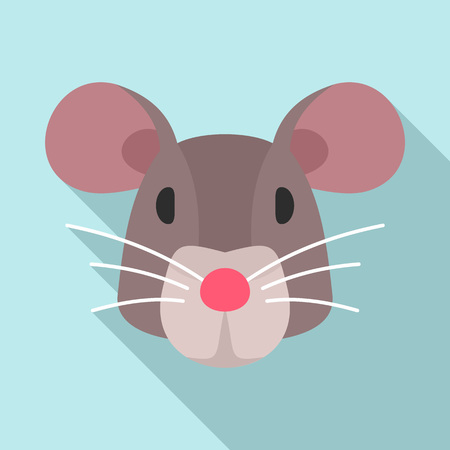 Mouse head icon. Flat illustration of mouse head vector icon for web design Vecteurs