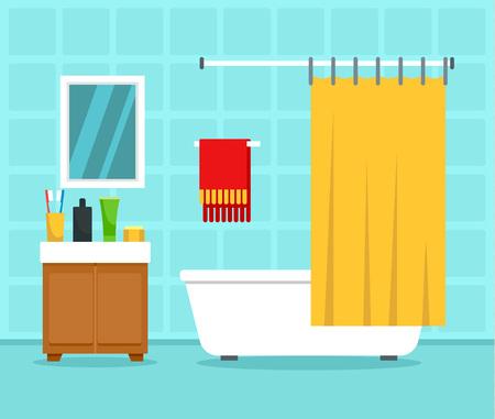 Bathroom interior concept background. Flat illustration of bathroom interior vector concept background for web design