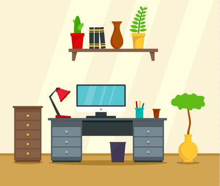 Computer work place concept background. Flat illustration of computer work place vector concept background for web design