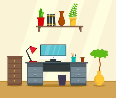 Priorità bassa di concetto del posto di lavoro del computer. Illustrazione piana del fondo di concetto di vettore del posto di lavoro del computer per il web design