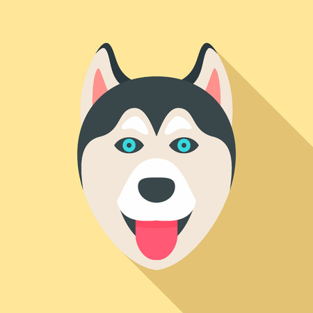 Husky dog head icon, flat style
