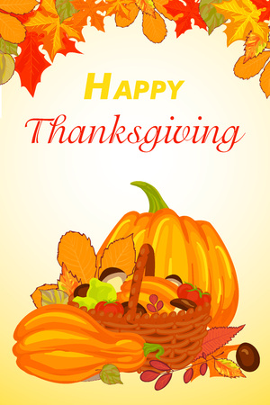 Happy thanksgiving vertical banner, cartoon style Illustration
