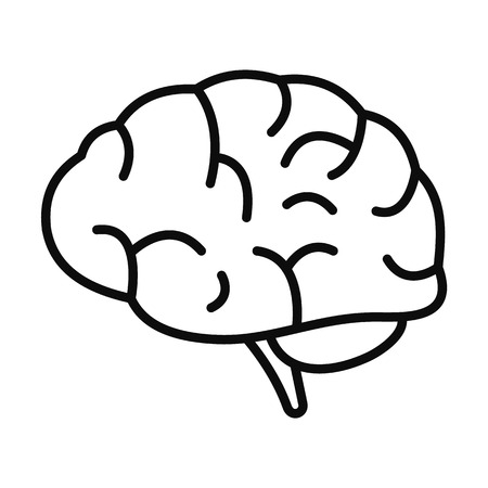 Brain power icon. Outline brain power vector icon for web design isolated on white background