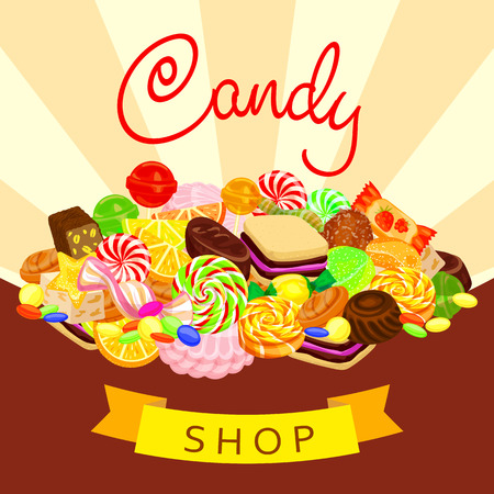 Delicious candy shop concept background, cartoon style