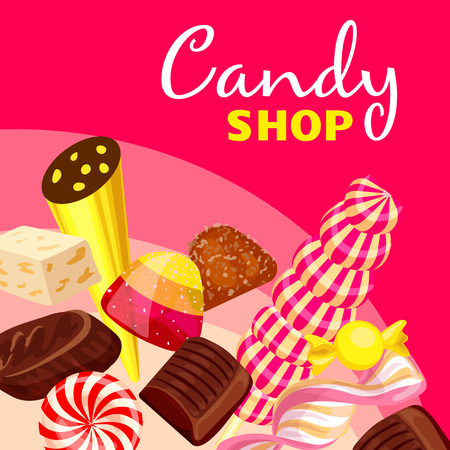 Choco candy shop concept background. Cartoon illustration of choco candy shop vector concept background for web design 矢量图像