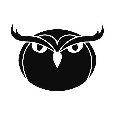Icono del búho ilustración simple del icono del vector del cuervo para el diseño web aislado en el fondo blanco Foto de archivo - 108078121
