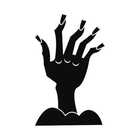 Zombie Hand Symbol. Einfache Illustration der Zombie-Handvektorikone für Webdesign lokalisiert auf weißem Hintergrund