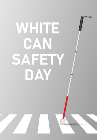 White cane safety day concept banner, realistic style 版權商用圖片