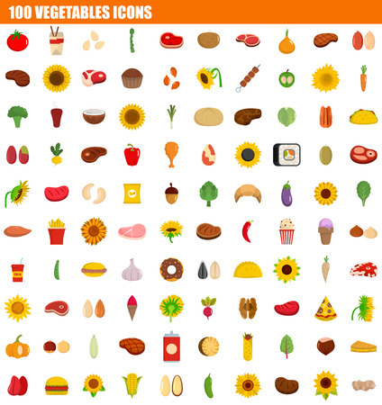 100 vegetables icon set. Flat set of 100 vegetables vector icons for web design  イラスト・ベクター素材