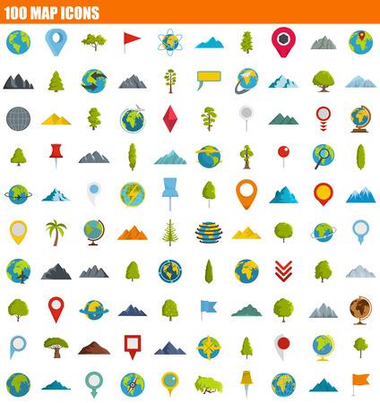 100 map icon set, flat style