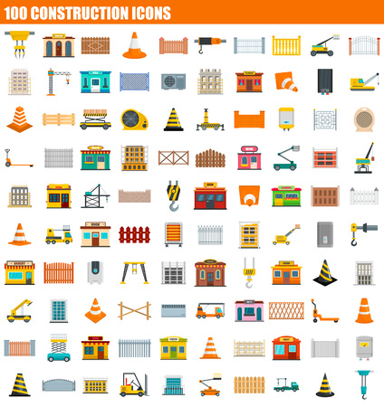 100 construction icon set. Flat set of 100 construction vector icons for web design