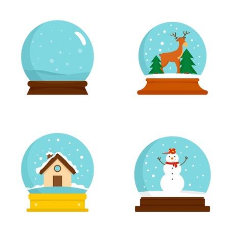 Snow globe ball christmas winter icons set. Flat illustration of 4 snow globe ball christmas winter vector icons for web