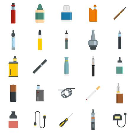 Electronic cigarette mod cig smoke icons set. Flat illustration of 25 electronic cigarette mod cig smoke vector icons for web Reklamní fotografie - 110042184