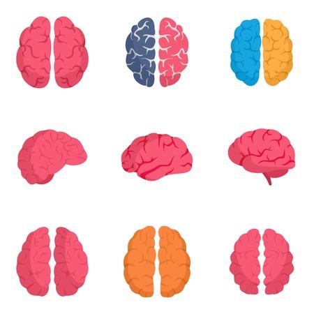 Genius brain icon set. Flat set of genius brain vector icons for web design