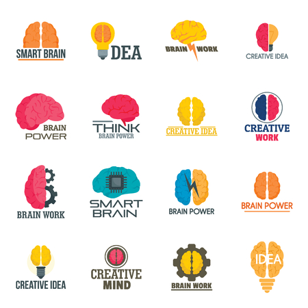 Mind brain icon set, flat style