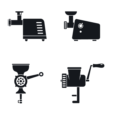 Meat grinder machine icon set, simple style