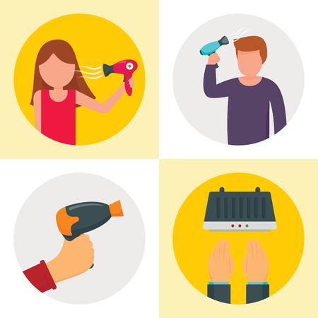 Haartrockner-Maschinen-Banner-Set. Flache Illustration des Vektorbanners der Haartrocknermaschine für Webdesign Vektorgrafik