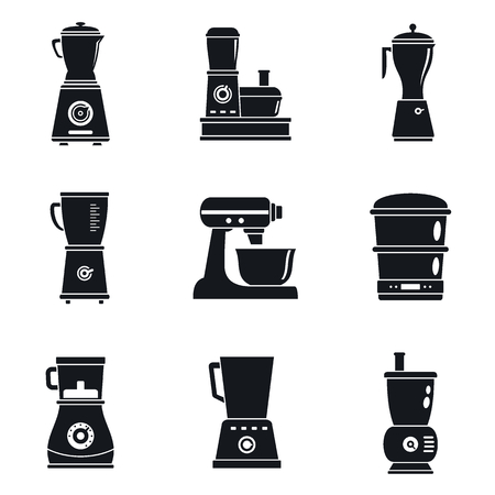 Food processor machine icon set. Simple set of food processor machine vector icons for web design on white background