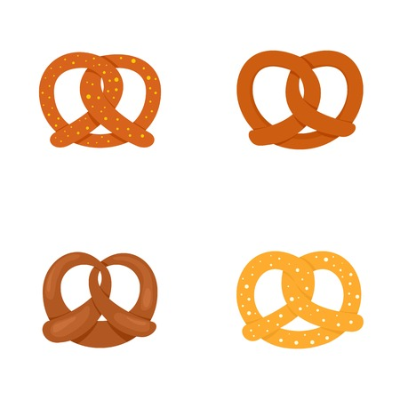 Pretzel oktober fest icons set, flat style 矢量图像