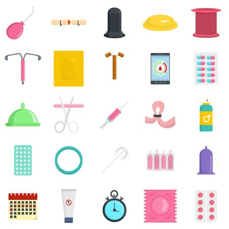 Contraception Day control pill medication oral test icons set. Flat illustration of 25 Contraception Day control pill medication oral test vector icons for web