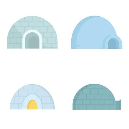 Igloo icon set, flat style