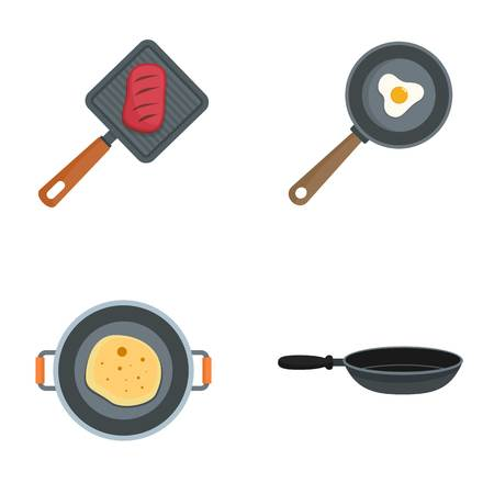 Hot griddle icon set. Flat set of hot griddle vector icons for web design