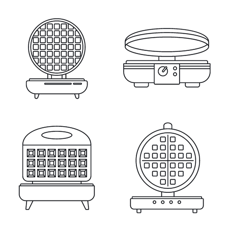 Home waffle-iron icon set. Outline set of home waffle-iron vector icons for web design isolated on white background