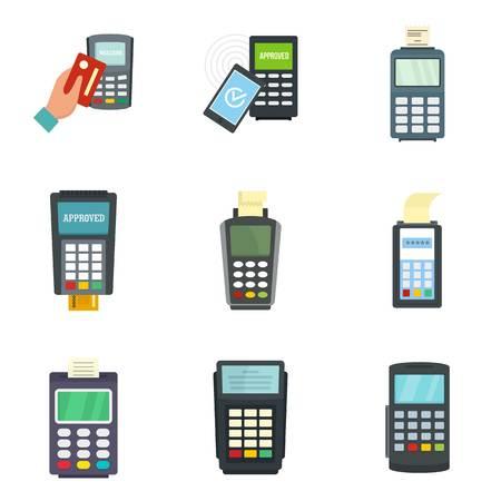 Bank terminal credit card icons set, flat style