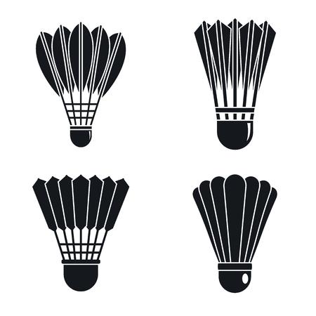 Jeu d'icônes de badminton volant, style simple