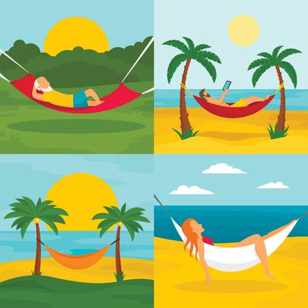Rest hammock banner set, flat style Stock Photo