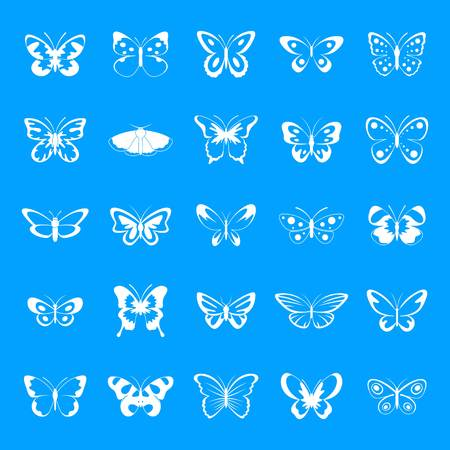 Butterfly icons set. Simple illustration of 25 butterfly vector icons for web Vetores