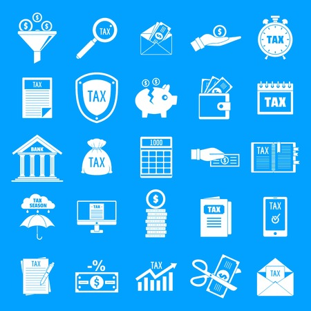 Taxes icons set. Simple illustration of 25 taxes vector icons for web