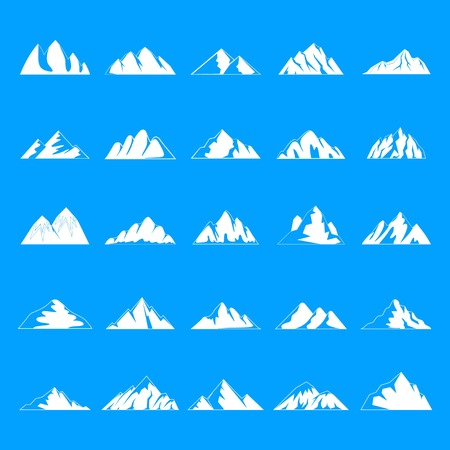 Mountain icons set. Simple illustration of 25 mountain vector icons for web