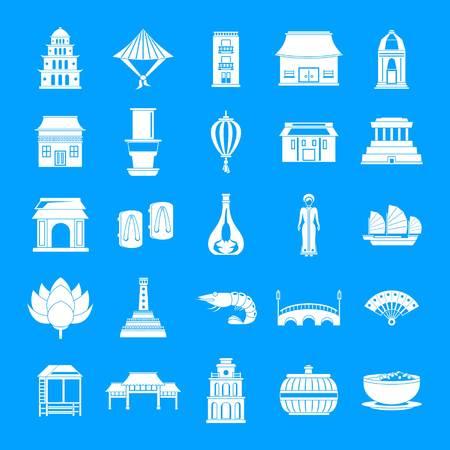Vietnam-Reisetourismus-Ikonen eingestellt. Einfache Illustration von 25 Vietnam-Reisetourismusvektorikonen für Web