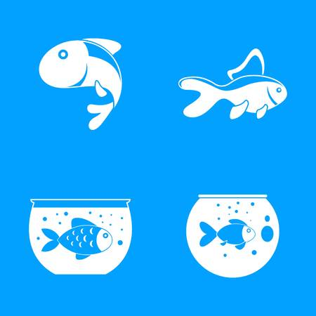 Goldfish and fishbowl icons set. Somple illustration of 4 goldfish and fishbowl vector icons for web