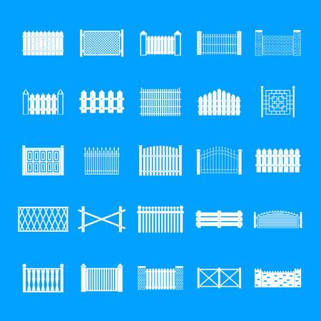 Fence icons set. Simple illustration of 25 fence vector icons for web Vecteurs