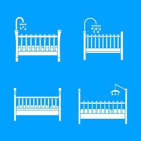 Baby crib cradle bed icons set. Simple illustration of 4 baby crib cradle bed vector icons for web Illusztráció